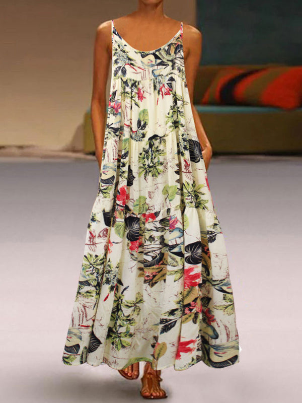 Summer Retro Printed Stitching Strap Maxi Dress