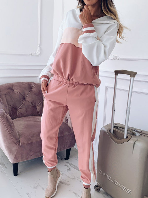 Hooded Color Matching Casual Sports Suit
