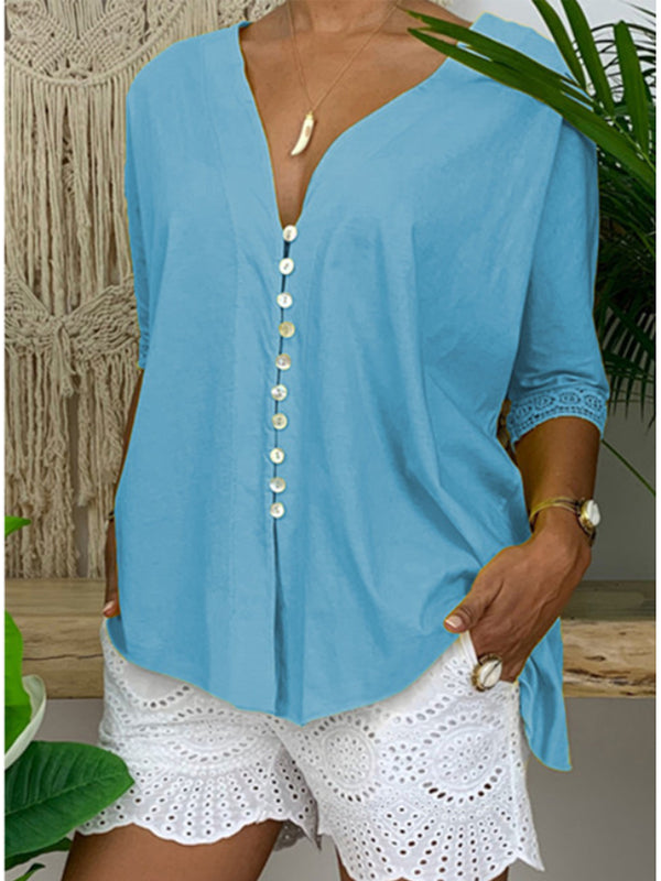 V Neck Button Down Lace Patchwork Casual Blouse