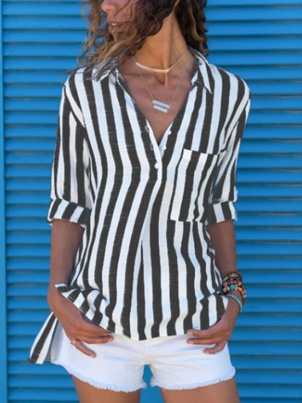 Long Sleeve  Leisure Stripe Blouses