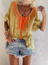 Load image into Gallery viewer, Woman V Neck Boho Printed Long Sleeve Blouse
