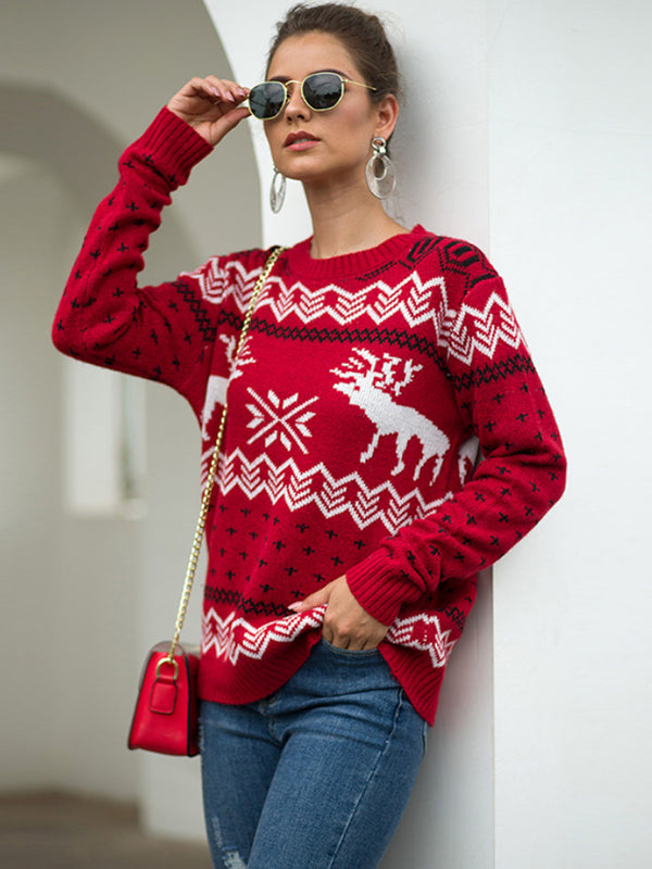 Autumn And Winter Christmas Snowflake Fawn Jacquard Long Sleeve Sweater