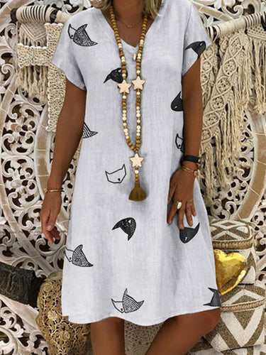 Fish Printed V Neck Short Sleeve Casual Cotton Blend Dresses