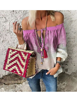OFF-THE-SHOULDER BOHEMIAN LACE-UP SUMMER BLOUSES