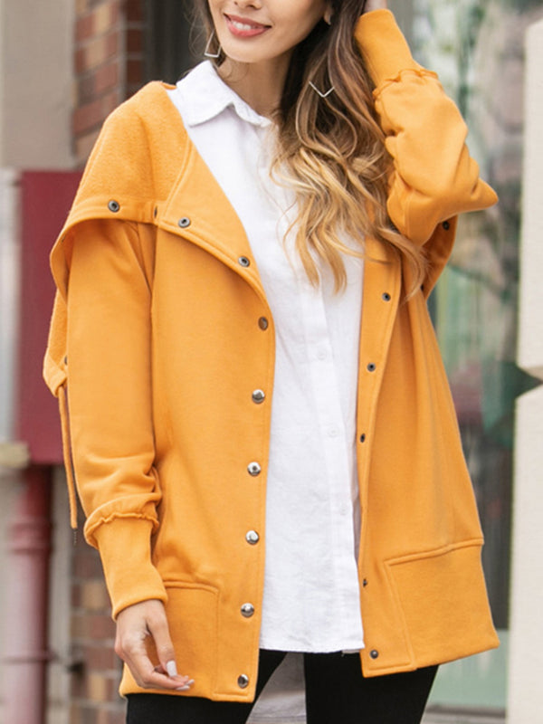 Fall Solid Colored Rolled Collar Regular Jacket