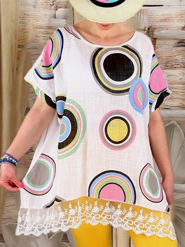 Loose Printed Women Blouses Summer Short Sleeve Leisure Top
