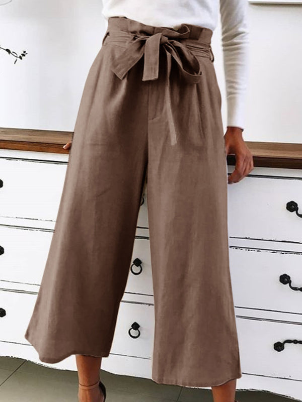 Casual Women Bow Plain Cotton Pants