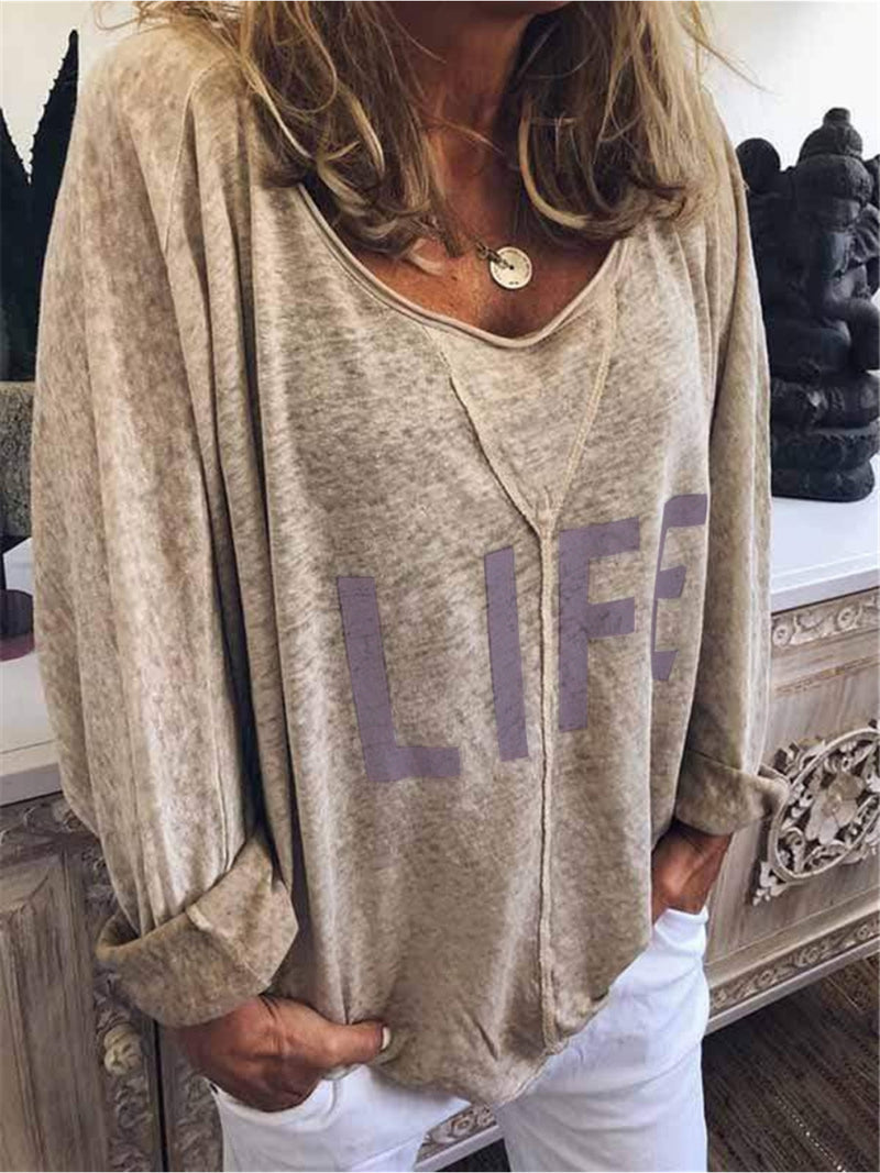 Round Neck Casual Long Sleeve Printed Blouse