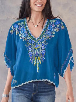 Embroidery V Neck Half Sleeve Holiday Shirts&Tops