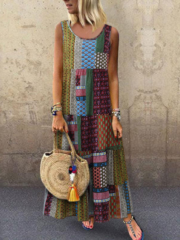 Bohemian Women Splicing Round Neck Sleeveless Dress