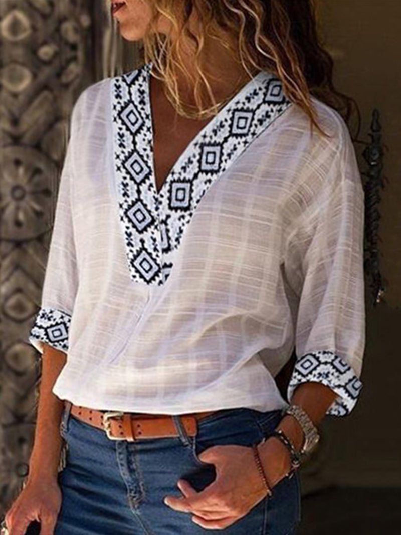 Women Elegant V Neck Printed Cotton And Linen Blouses