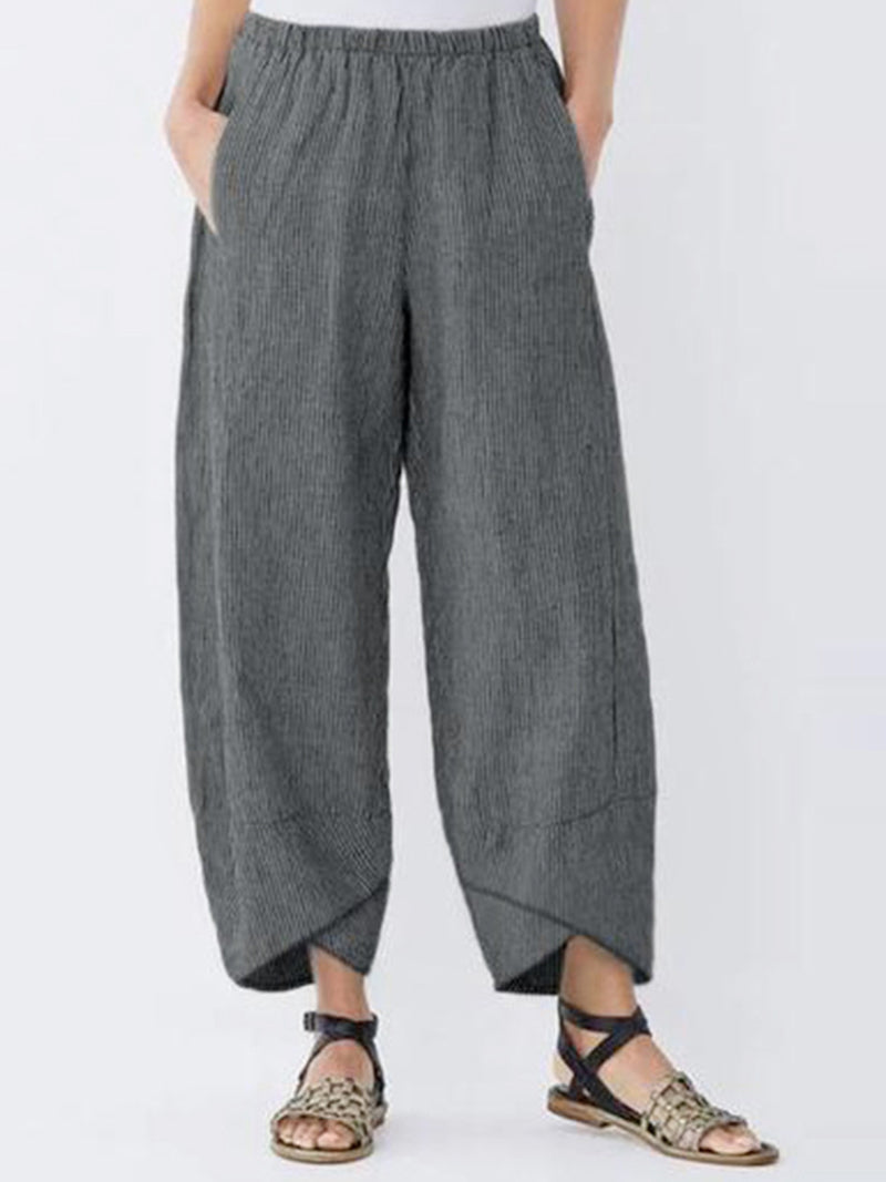 Asymmetrical Vintage Striped  Elastic Waist Pockets Pants