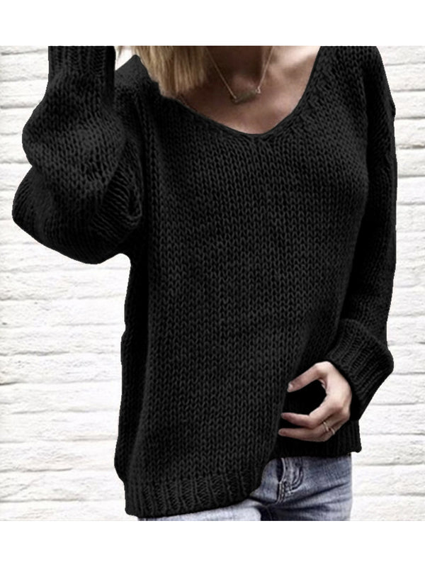 Autumn And Winter V Neck Casual Solid Color Sweater