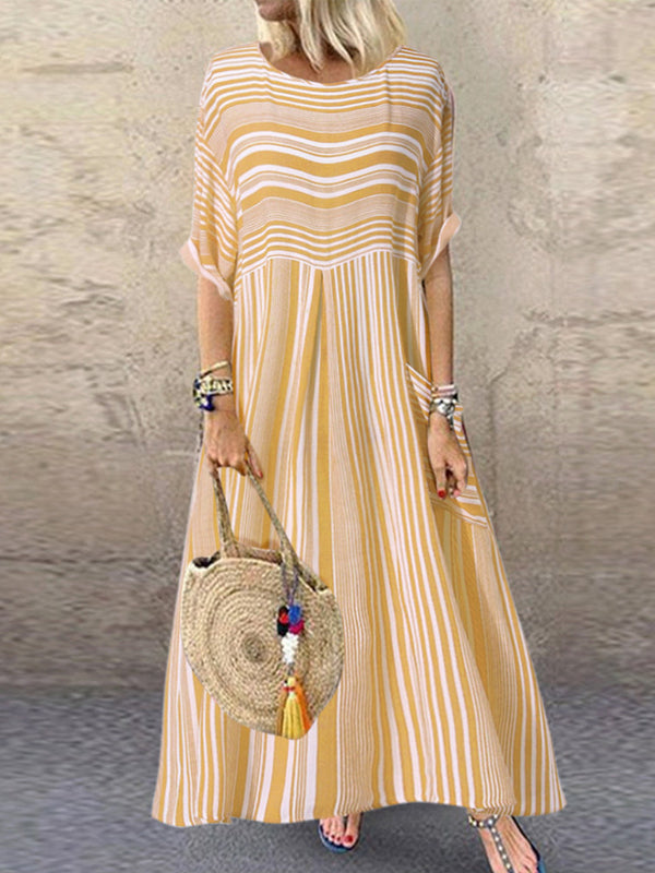 Summer Casual Striped Patchwork Dress With Pocket