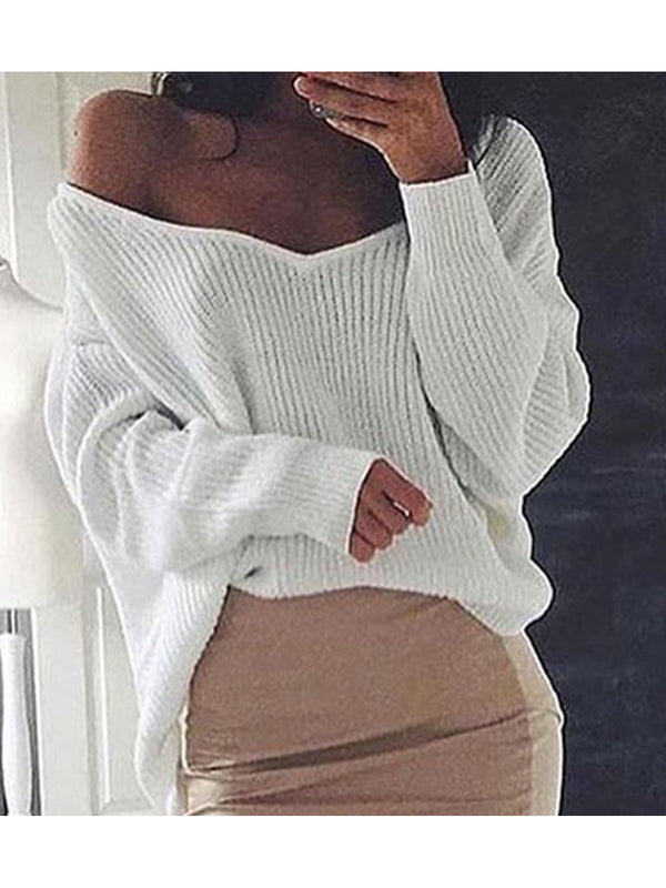 Long Sleeves V-neck Loose Plunge Knitted Sweaters