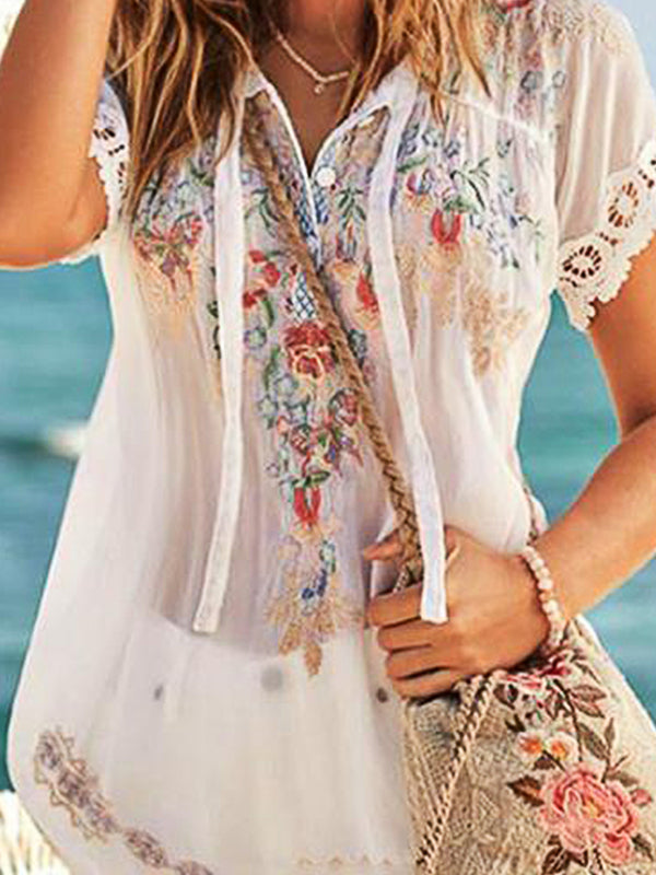 Summer Casual Loose Printed V-Neck Blouse