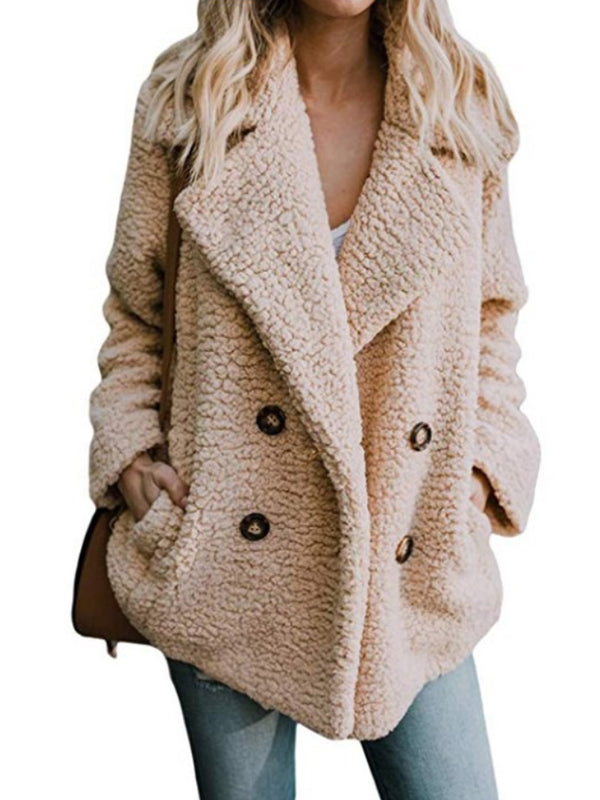 2019 Autumn And Winter New  Explosion Women Plush Button Lapels Pocket Coat Loose Cardigan Woolen Top