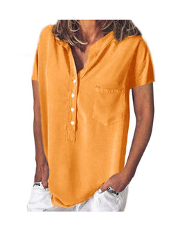 Casual Short Sleeve V Neck Loose Solid Color Shirt