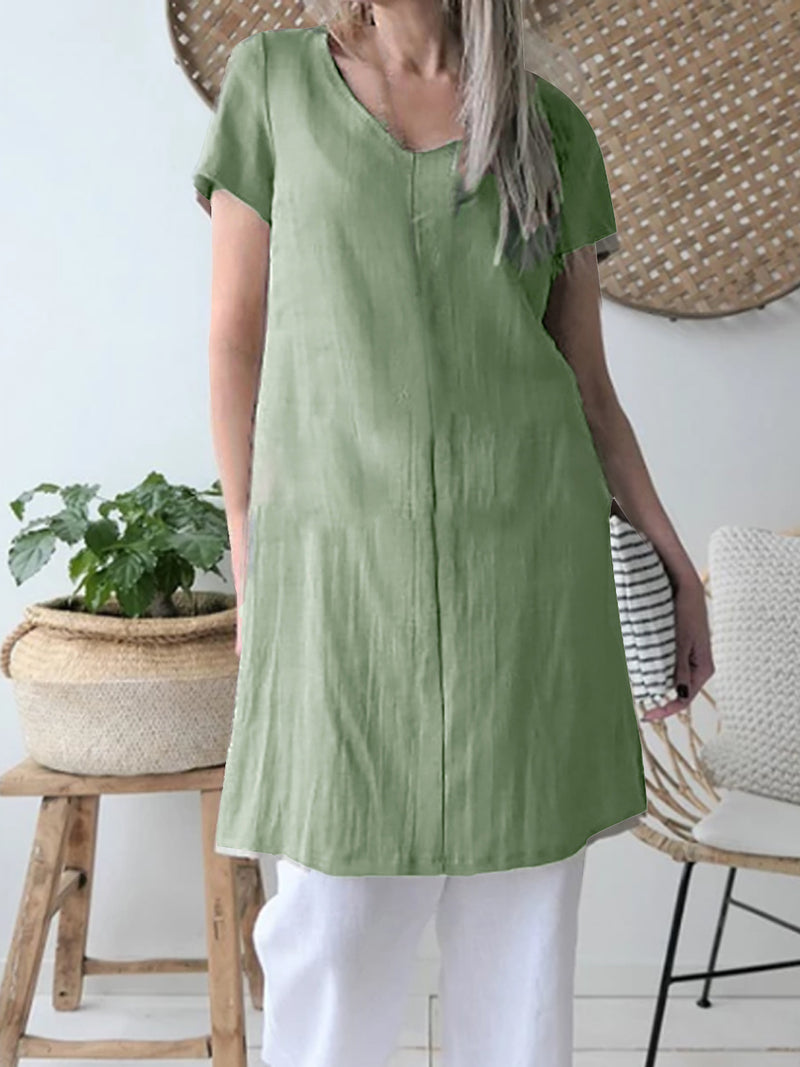 Solid Color V-Neck Casual Solid Color Dress