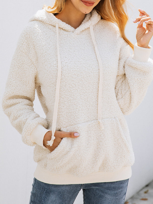 Autumn & Winter lace hooded solid color casual hoodie