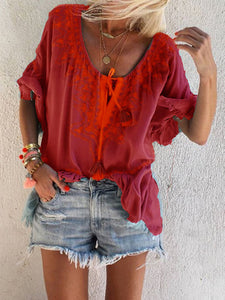 Woman V Neck Boho Printed Long Sleeve Blouse