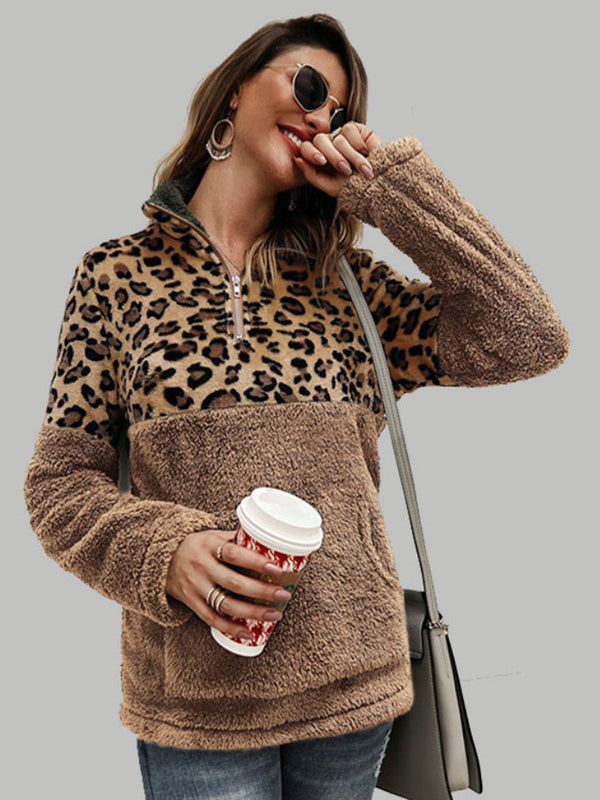Autumn And Winter Long Sleeve Leopard Stitching Top
