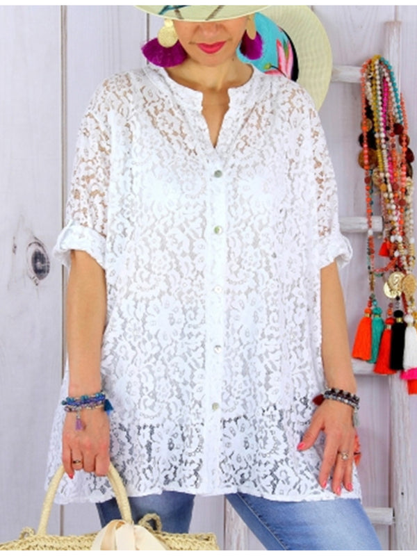 Summer Women Lace Half Sleeve Shirt Collar Top Blouse