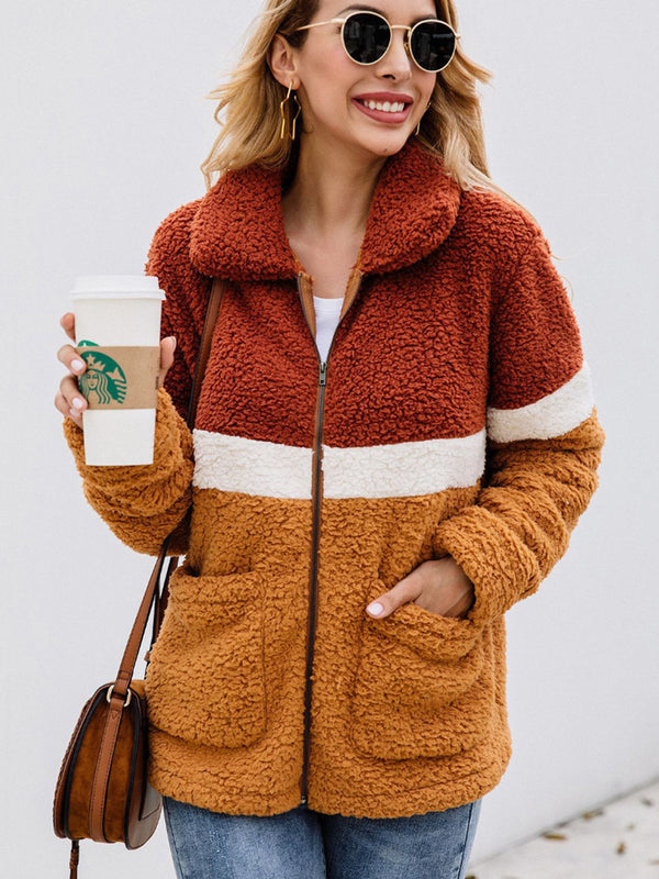 Autumn And Winter Color Matching Fleece Teddy Jacket