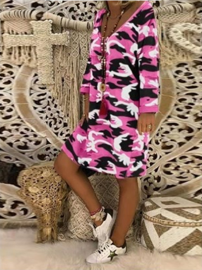Camo Print Long Sleeve Round Neck Shift Dress