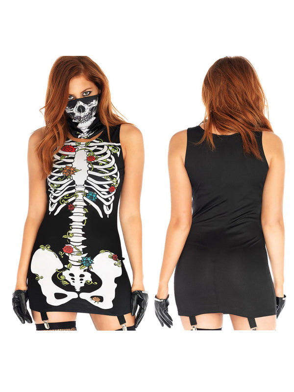 Halloween Dresses Floral Sexy Skeleton Bone Sleeveless 2PC With Mask