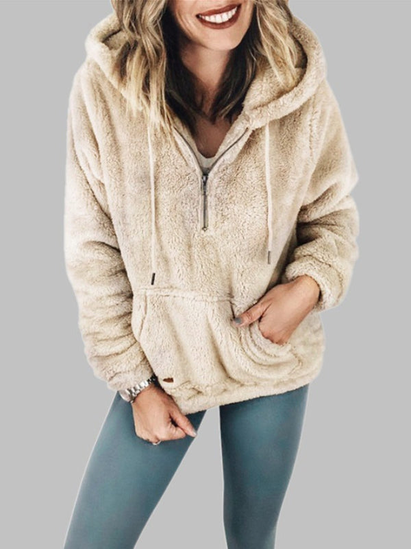Fashion Women Casual Hooded Long Sleeve Solid Thicken Hoodie