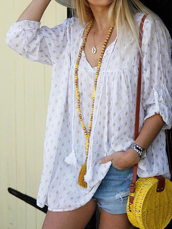 V-Neck Casual  Star Printed Blouse