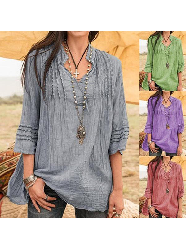 Cotton Blended V-Neck Solid Color Casual Blouse