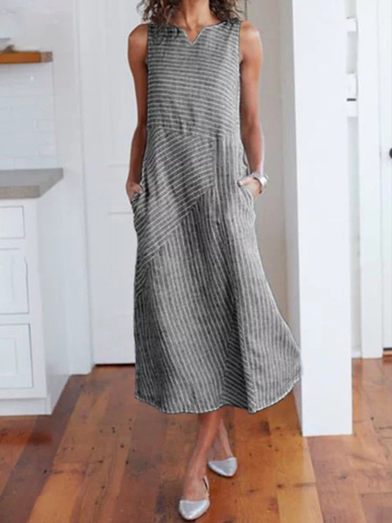V Neck Casual Women Dresses Holiday Stripes Dresses