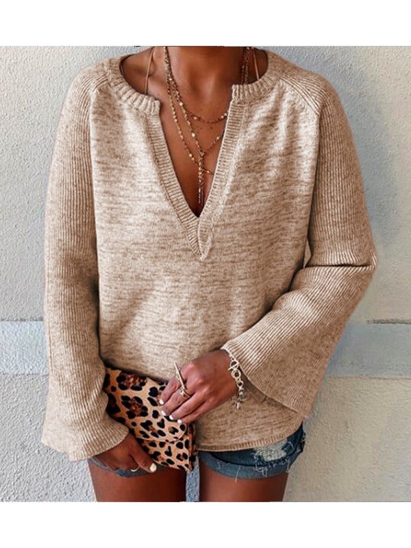 Solid Color Bell Sleeve V-Neck Long Sleeve Sweater