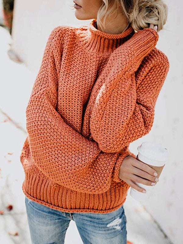 High Neck Solid Color Pullover Sweater