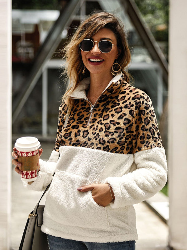 Autumn and winter pullover new leopard zip pocket fashion high collar