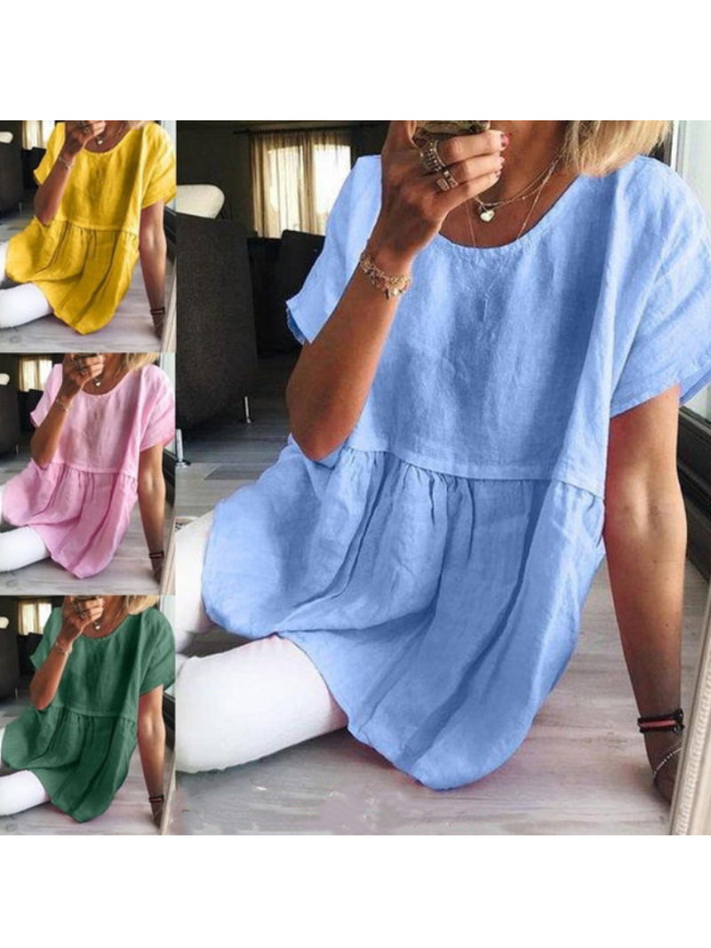 Summer Women Casual Short Sleeve Solid Color Blouse