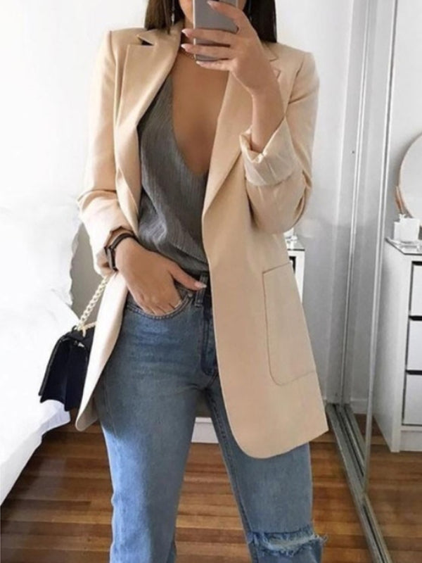 Casual Suit Long Sleeve Lapel Solid Color Coat