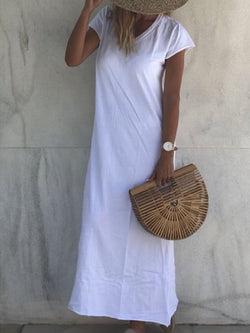 Summer Casual V Neck Short Sleeve Solid Dresses