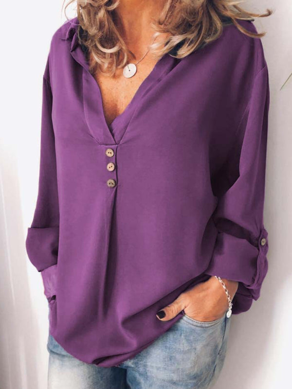 Buttoned Solid Color Long Sleeve V-Neck Blouse
