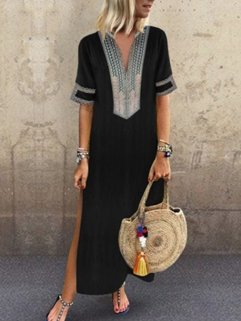 Daily Women Half Sleeve Slit Solid Summer Dresses