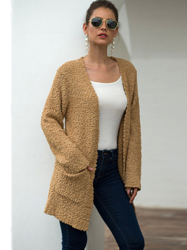 Autumn Knit Solid Color Sweater Cardigan Coat