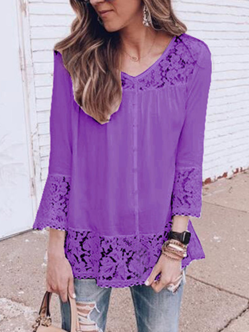 Fashion Patchwork Lace V-neck Long Sleeve Blouses