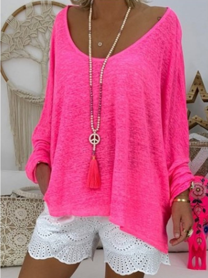 Casual Loose Long Sleeve Round Neck Plain T-Shirts