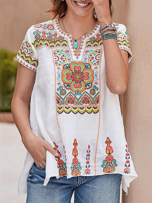 V Neck Casual Print  Short Sleeve Shirts & Tops
