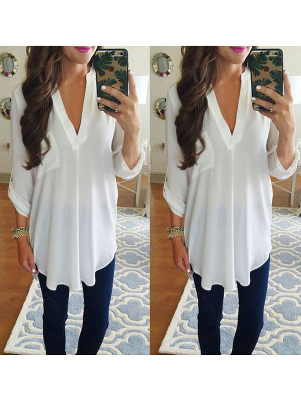 V-Neck Long Sleeve Pocket Loose Chiffon Shirt