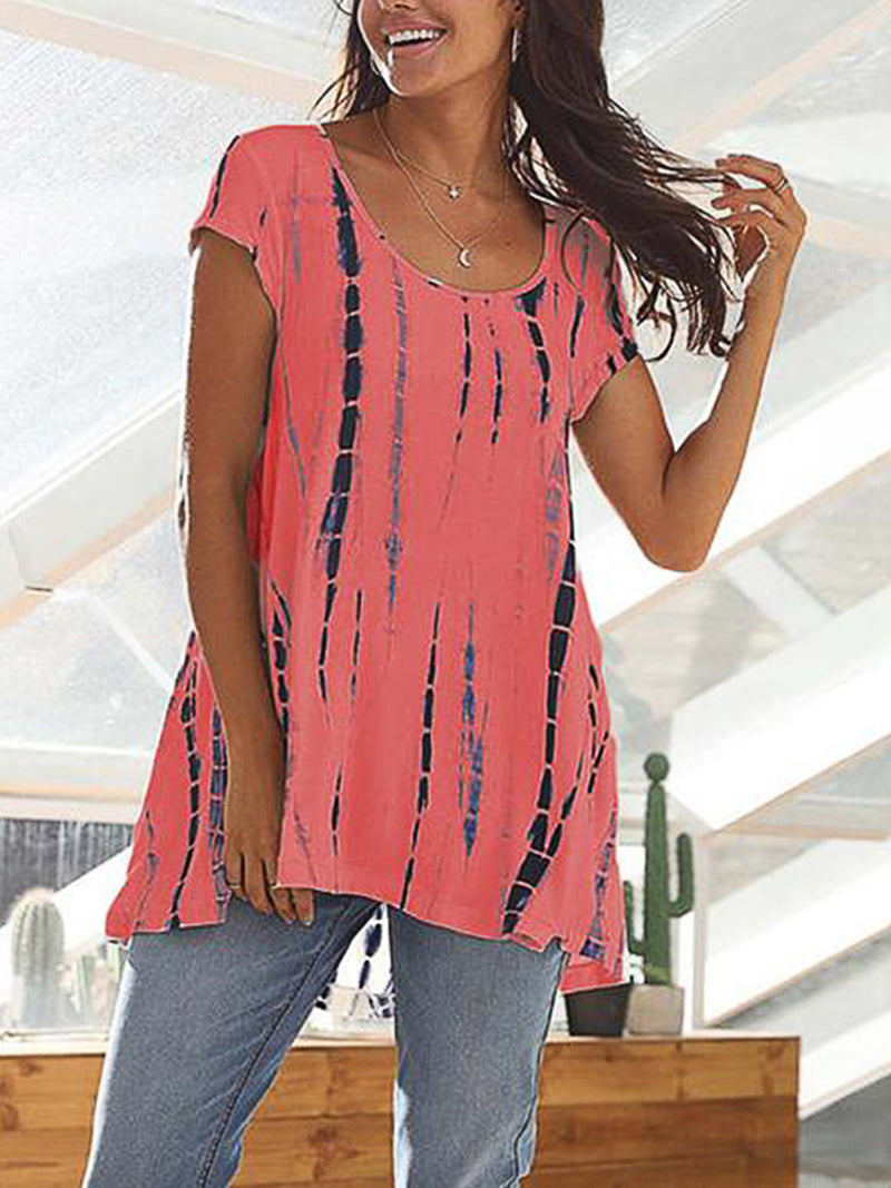 Woman Large Size Short Sleeve Printed Round Neck Tops