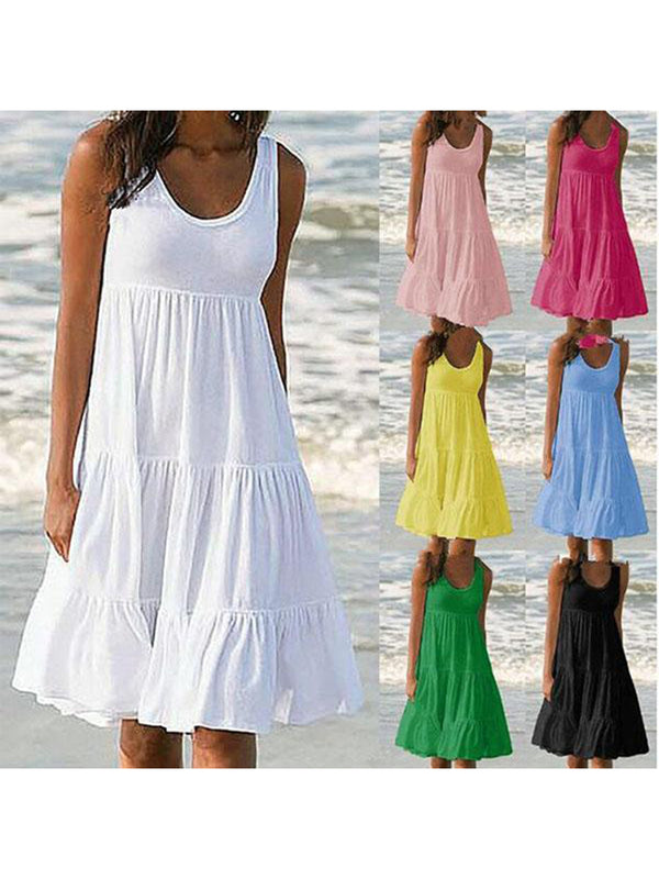 Summer Plus Size Sleeveless Solid Color Dress