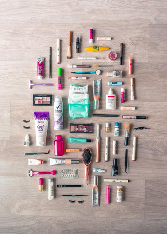 Beauty stack with skincare makeup haircare and other beauty products